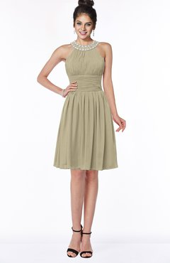 ColsBM Liana Candied Ginger Cute A-line Jewel Chiffon Pleated Bridesmaid Dresses