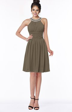 ColsBM Liana Carafe Brown Cute A-line Jewel Chiffon Pleated Bridesmaid Dresses