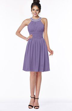 ColsBM Liana Chalk Violet Cute A-line Jewel Chiffon Pleated Bridesmaid Dresses