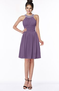 ColsBM Liana Chinese Violet Cute A-line Jewel Chiffon Pleated Bridesmaid Dresses