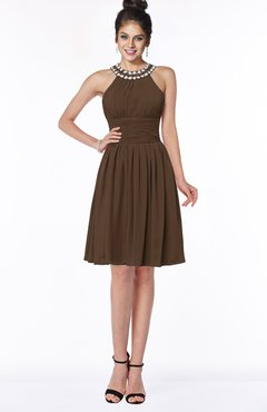ColsBM Liana Chocolate Brown Cute A-line Jewel Chiffon Pleated Bridesmaid Dresses