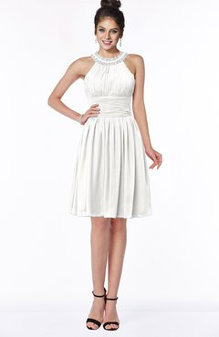 ColsBM Liana Cloud White Cute A-line Jewel Chiffon Pleated Bridesmaid Dresses