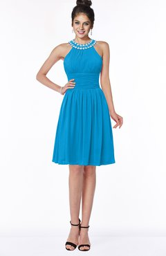 ColsBM Liana Cornflower Blue Cute A-line Jewel Chiffon Pleated Bridesmaid Dresses
