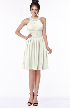 ColsBM Liana Cream Cute A-line Jewel Chiffon Pleated Bridesmaid Dresses