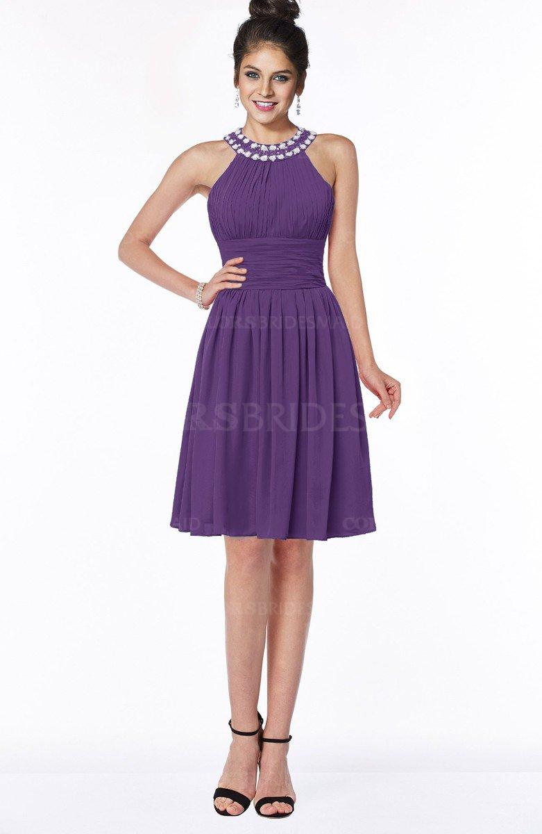 603cfb46d70 ColsBM Liana Dark Purple Cute A-line Jewel Chiffon Pleated Bridesmaid  Dresses