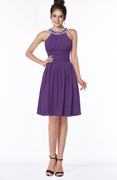 ColsBM Liana Dark Purple Cute A-line Jewel Chiffon Pleated Bridesmaid Dresses