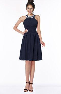 ColsBM Liana Dark Sapphire Cute A-line Jewel Chiffon Pleated Bridesmaid Dresses