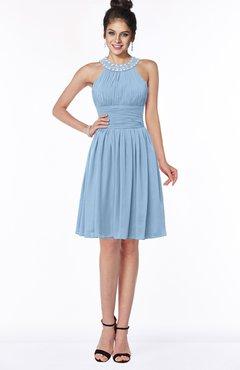 ColsBM Liana Dusty Blue Cute A-line Jewel Chiffon Pleated Bridesmaid Dresses