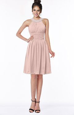ColsBM Liana Dusty Rose Cute A-line Jewel Chiffon Pleated Bridesmaid Dresses