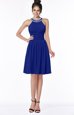 ColsBM Liana Electric Blue Cute A-line Jewel Chiffon Pleated Bridesmaid Dresses