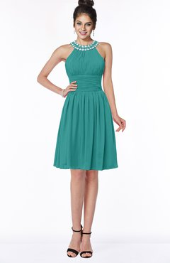 ColsBM Liana Emerald Green Cute A-line Jewel Chiffon Pleated Bridesmaid Dresses