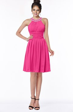 ColsBM Liana Fandango Pink Cute A-line Jewel Chiffon Pleated Bridesmaid Dresses