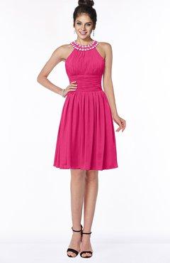 ColsBM Liana Fuschia Cute A-line Jewel Chiffon Pleated Bridesmaid Dresses
