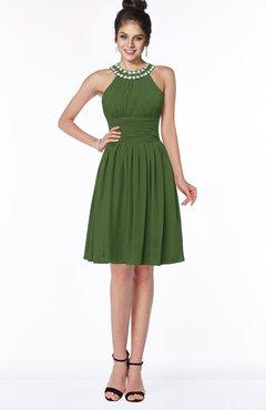 ColsBM Liana Garden Green Cute A-line Jewel Chiffon Pleated Bridesmaid Dresses