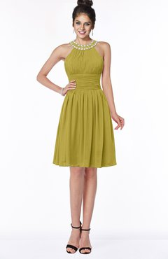 ColsBM Liana Golden Olive Cute A-line Jewel Chiffon Pleated Bridesmaid Dresses