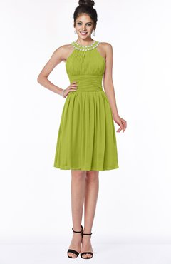 ColsBM Liana Green Oasis Cute A-line Jewel Chiffon Pleated Bridesmaid Dresses