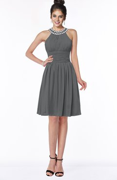 ColsBM Liana Grey Cute A-line Jewel Chiffon Pleated Bridesmaid Dresses