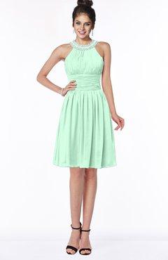 ColsBM Liana Honeydew Cute A-line Jewel Chiffon Pleated Bridesmaid Dresses