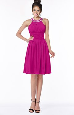 ColsBM Liana Hot Pink Cute A-line Jewel Chiffon Pleated Bridesmaid Dresses