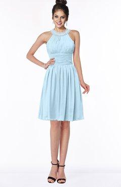ColsBM Liana Ice Blue Cute A-line Jewel Chiffon Pleated Bridesmaid Dresses