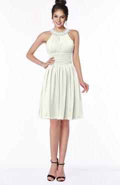 ColsBM Liana Ivory Cute A-line Jewel Chiffon Pleated Bridesmaid Dresses