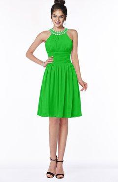 ColsBM Liana Jasmine Green Cute A-line Jewel Chiffon Pleated Bridesmaid Dresses