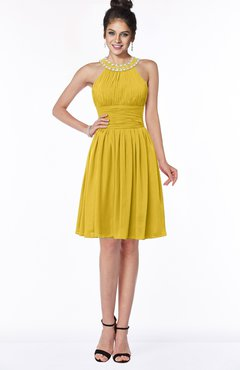 ColsBM Liana Lemon Curry Cute A-line Jewel Chiffon Pleated Bridesmaid Dresses