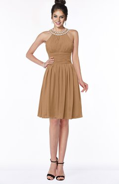 ColsBM Liana Light Brown Cute A-line Jewel Chiffon Pleated Bridesmaid Dresses