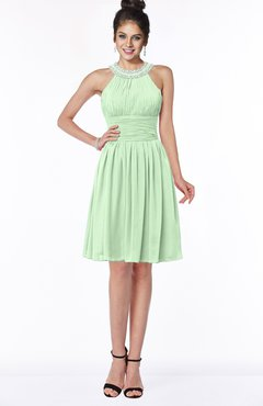 ColsBM Liana Light Green Cute A-line Jewel Chiffon Pleated Bridesmaid Dresses