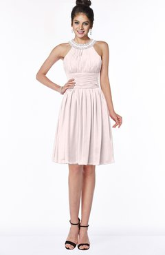 ColsBM Liana Light Pink Cute A-line Jewel Chiffon Pleated Bridesmaid Dresses