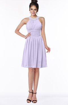 ColsBM Liana Light Purple Cute A-line Jewel Chiffon Pleated Bridesmaid Dresses
