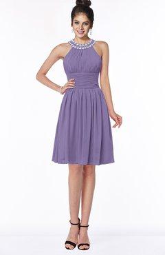 ColsBM Liana Lilac Cute A-line Jewel Chiffon Pleated Bridesmaid Dresses