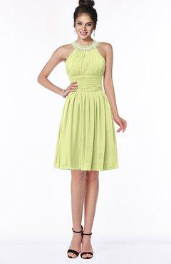 ColsBM Liana Lime Green Cute A-line Jewel Chiffon Pleated Bridesmaid Dresses