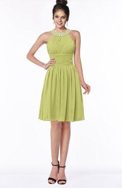 ColsBM Liana Linden Green Cute A-line Jewel Chiffon Pleated Bridesmaid Dresses