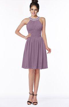 ColsBM Liana Mauve Cute A-line Jewel Chiffon Pleated Bridesmaid Dresses