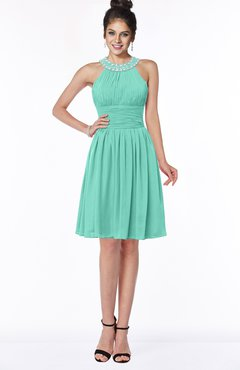 ColsBM Liana Mint Green Cute A-line Jewel Chiffon Pleated Bridesmaid Dresses