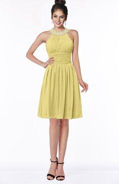 ColsBM Liana Misted Yellow Cute A-line Jewel Chiffon Pleated Bridesmaid Dresses