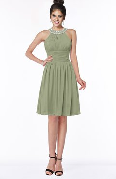 ColsBM Liana Moss Green Cute A-line Jewel Chiffon Pleated Bridesmaid Dresses