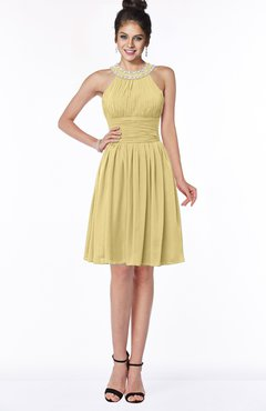 ColsBM Liana New Wheat Cute A-line Jewel Chiffon Pleated Bridesmaid Dresses