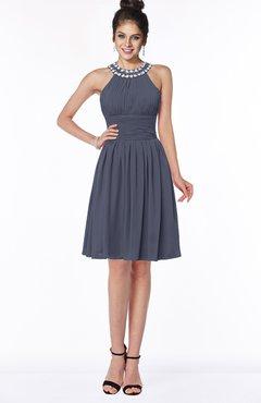 ColsBM Liana Nightshadow Blue Cute A-line Jewel Chiffon Pleated Bridesmaid Dresses