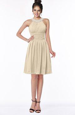 ColsBM Liana Novelle Peach Cute A-line Jewel Chiffon Pleated Bridesmaid Dresses