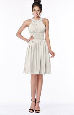 ColsBM Liana Off White Cute A-line Jewel Chiffon Pleated Bridesmaid Dresses