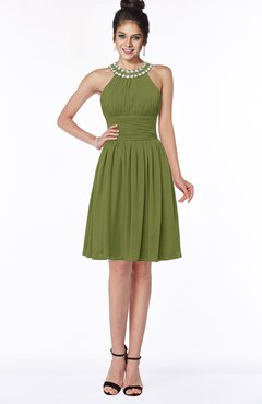 ColsBM Liana Olive Green Cute A-line Jewel Chiffon Pleated Bridesmaid Dresses