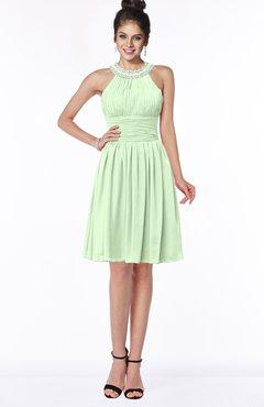 ColsBM Liana Pale Green Cute A-line Jewel Chiffon Pleated Bridesmaid Dresses