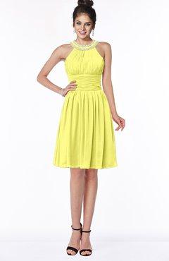 ColsBM Liana Pale Yellow Cute A-line Jewel Chiffon Pleated Bridesmaid Dresses
