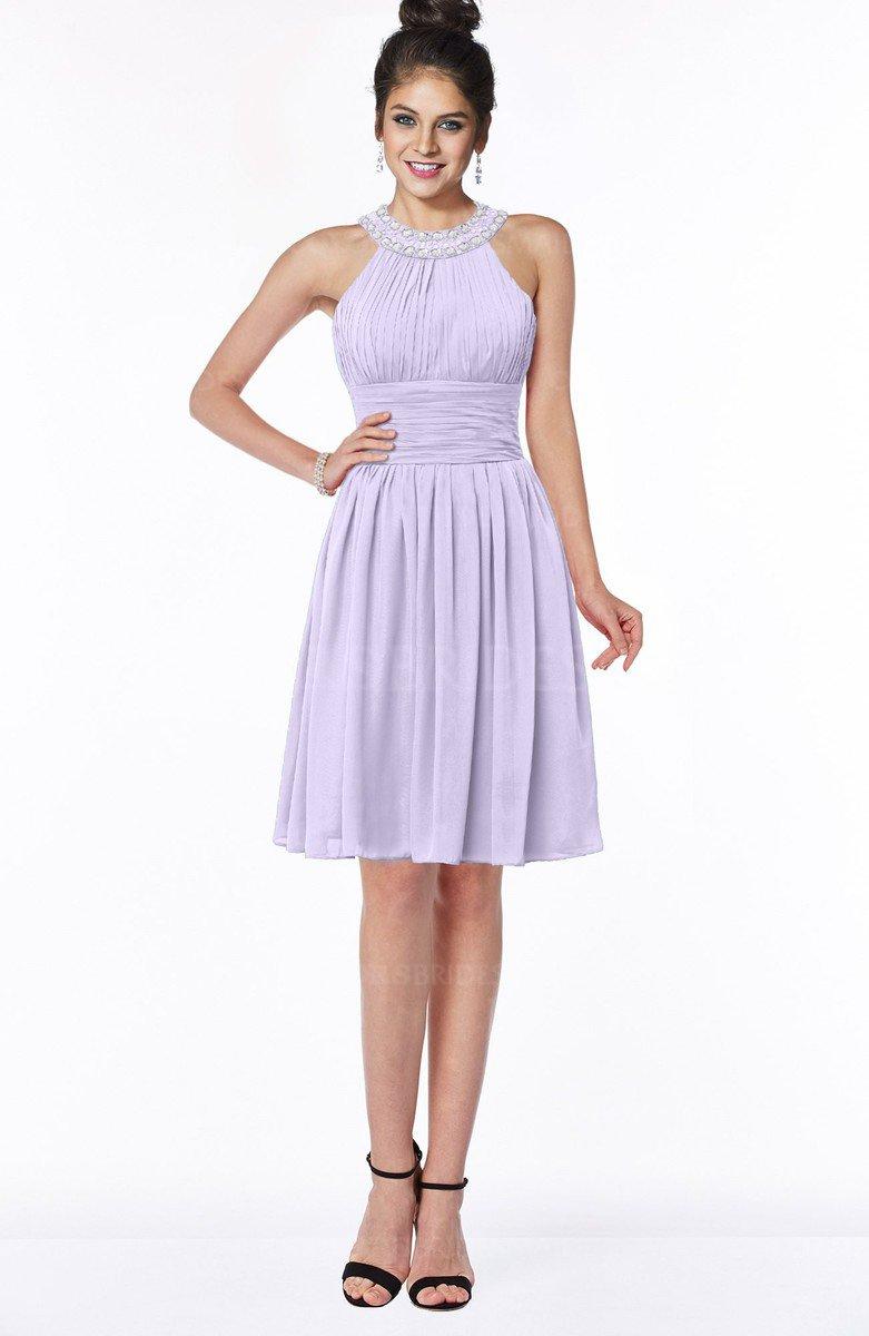 a05bb9ad3f4 ColsBM Liana Pastel Lilac Cute A-line Jewel Chiffon Pleated Bridesmaid  Dresses