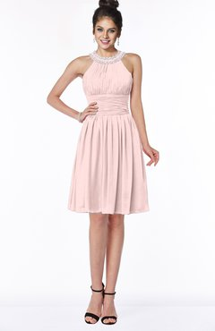 ColsBM Liana Pastel Pink Cute A-line Jewel Chiffon Pleated Bridesmaid Dresses