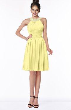 ColsBM Liana Pastel Yellow Cute A-line Jewel Chiffon Pleated Bridesmaid Dresses