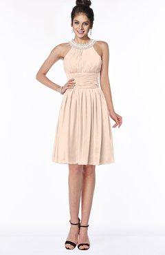 ColsBM Liana Peach Puree Cute A-line Jewel Chiffon Pleated Bridesmaid Dresses