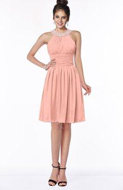 ColsBM Liana Peach Cute A-line Jewel Chiffon Pleated Bridesmaid Dresses